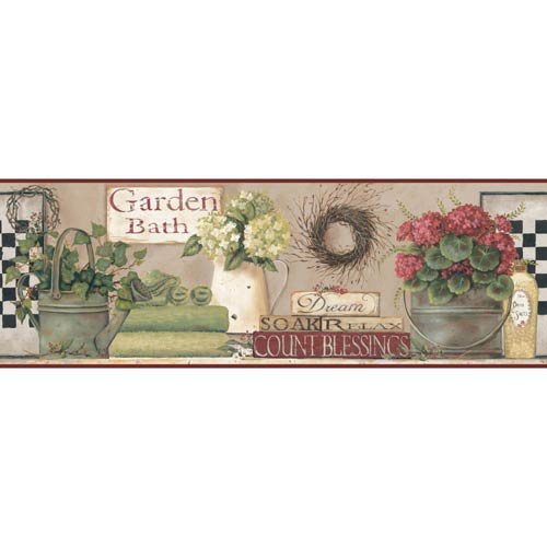 Welcome Home Taupe, Cream, Grass Green, Barn Red and Brown Garden Bath Border Wallpaper: Sample Swatch Only