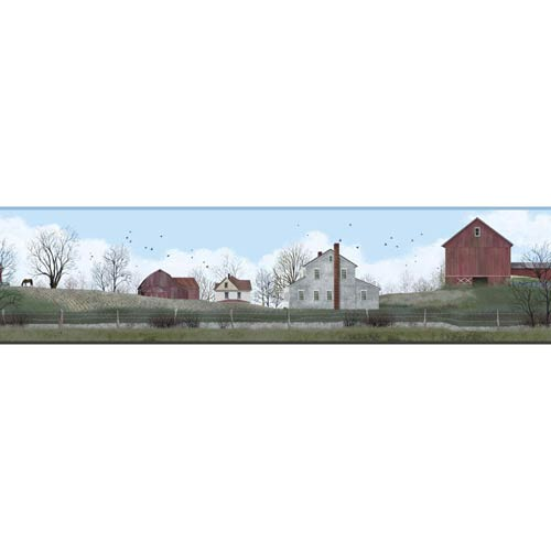 York Wallcoverings Welcome Home Light Blue, Sage Green, Barn Red, White, Grey, Black and Brown Rural Route Border Wallpaper