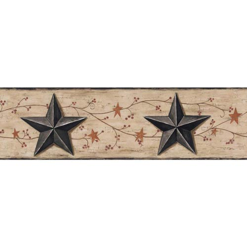 Welcome Home Beige, Taupe, Black, Rust, Brown and Red Barn Star, Vine Border Wallpaper: Sample Swatch Only
