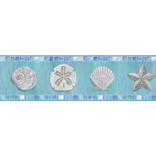 York Wallcoverings Inspired by Color Blue and White Ocean Mosaic Border Wallpaper