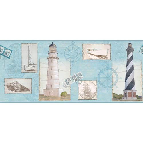 York Wallcoverings Inspired by Color Blue, White and Black Wallpaper: Sample Swatch Only