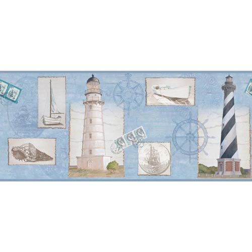 York Wallcoverings Inspired by Color Blue, White and Black Seacoast Lighthouse Border Wallpaper: Sample Swatch Only