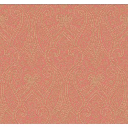 Antonina Vella Orange Kashmir Luxury Paisley Wallpaper: Sample Swatch Only