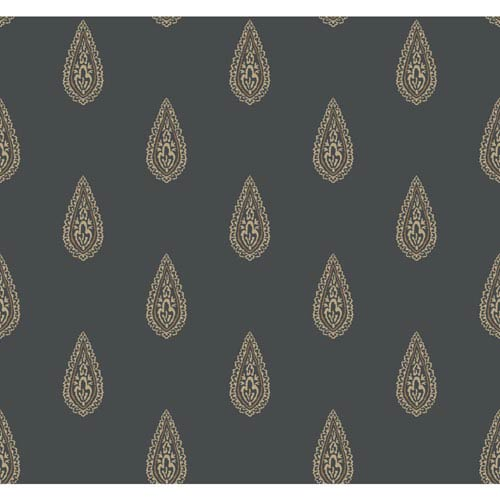 Antonina Vella Beige Kashmir Luxury Teardrop Wallpaper: Sample Swatch Only