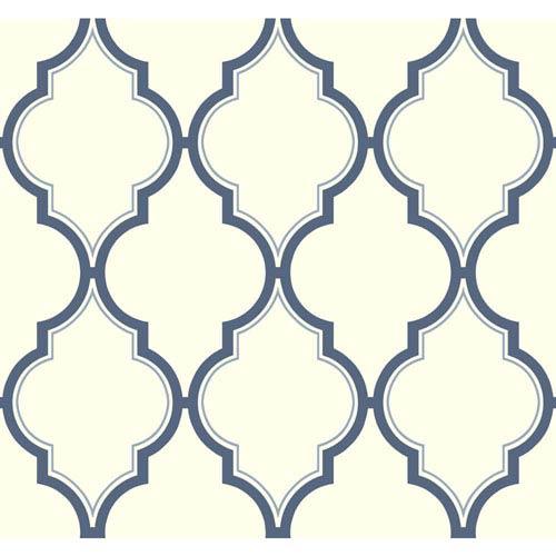 Antonina Vella Blue Kashmir Luxury Trellis Wallpaper