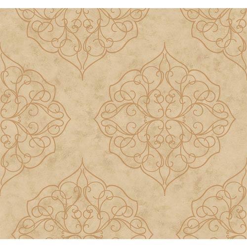 Antonina Vella Beige Kashmir Rose Window Wallpaper