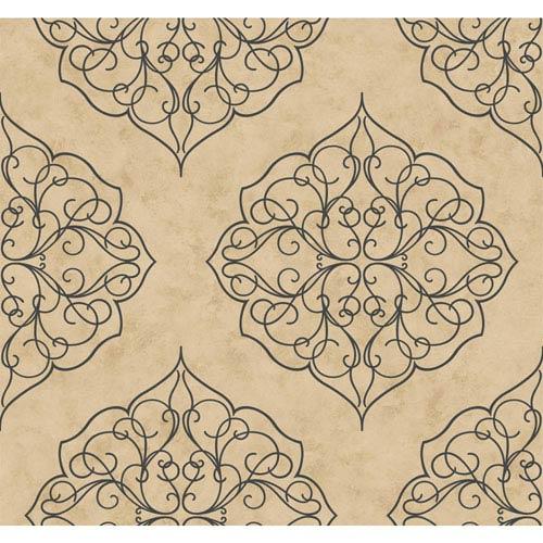 Antonina Vella Beige Kashmir Rose Window Wallpaper: Sample Swatch Only