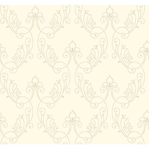 Antonina Vella Ivory Kashmir Stitched Ornamental Wallpaper: Sample Swatch Only