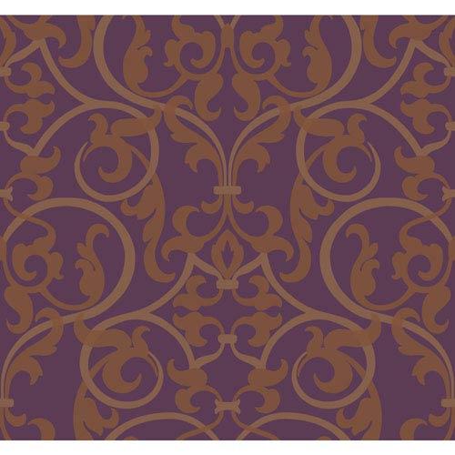 Antonina Vella Purple Kashmir Royal Scroll Wallpaper: Sample Swatch Only