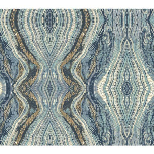 York Wallcoverings Antonina Vella Blue Kashmir Kaleidoscope Wallpaper