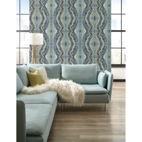 Antonina Vella Blue Kashmir Kaleidoscope Wallpaper