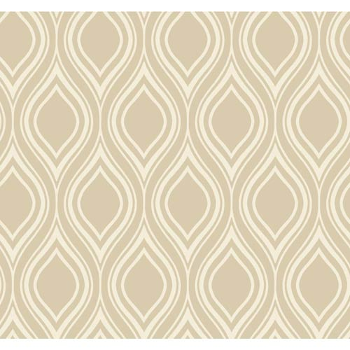 York Wallcoverings Inspired by Color Taupe Ogee Wallpaper: Sample Swatch Only