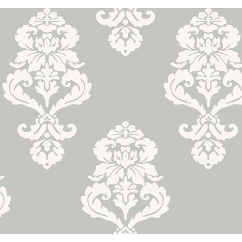 Inspired by Color Silver Metallic and White Wallpaper: Sample Swatch Only
