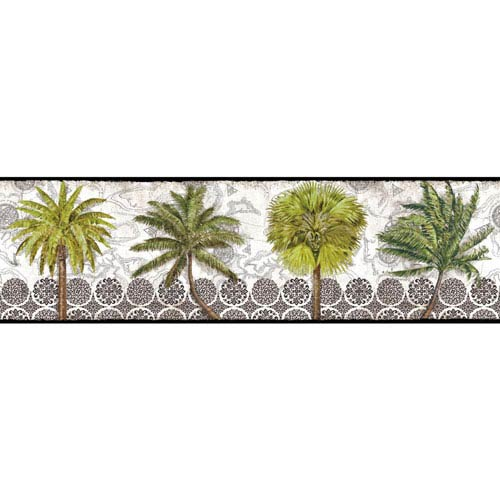 York Wallcoverings Border Portfolio II Delray Palm Removable Wallpaper Border- Sample Swatch Only