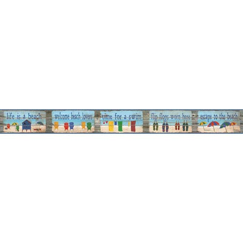 York Wallcoverings Border Portfolio II Beach House Rules Removable Wallpaper Border