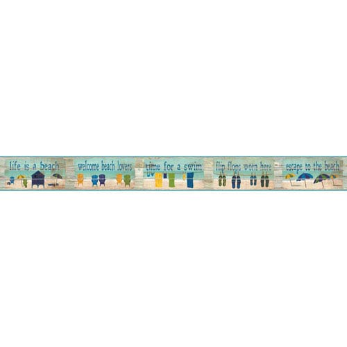 Border Portfolio II Beach House Rules Removable Wallpaper Border- Sample Swatch Only