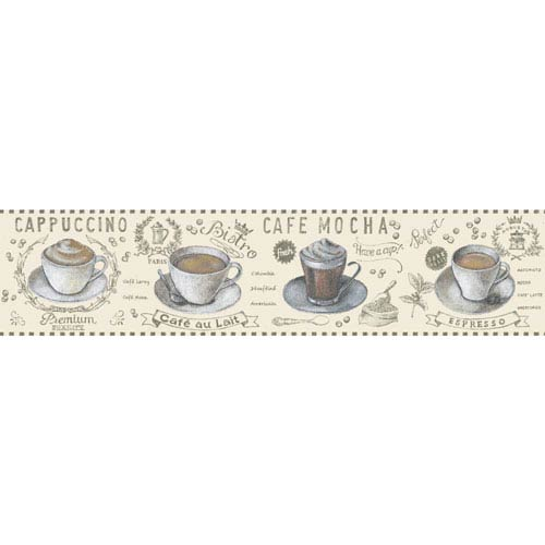 York Wallcoverings Border Portfolio II Coffee Time Removable Wallpaper Border- Sample Swatch Only