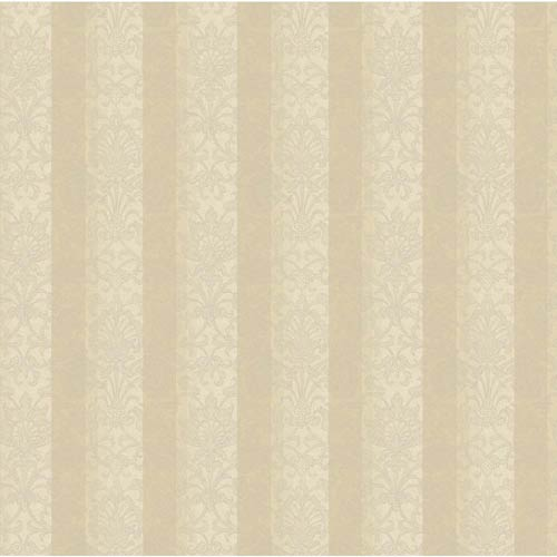 York Wallcoverings Saint Augustine Beige, Eggshell and Platinum Glimmer Metallic Stripe Damask Wallpaper: Sample Swatch Only