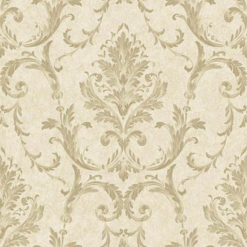 York Wallcoverings Saint Augustine Off White, Pale Taupe and Gleaming Gold Neoclassical Damask Wallpaper: Sample Swatch Only