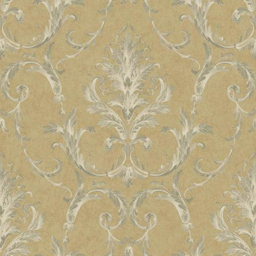 York Wallcoverings Saint Augustine Gold, Tan, Oyster Gray, Cream and Gleaming Silver Neoclassical Damask Wallpaper: Sample