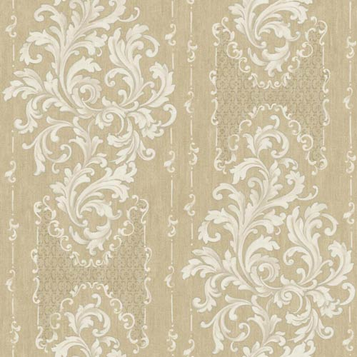 York Wallcoverings Saint Augustine Shiny Tan, Pale Taupe, White and Silver Sheen Embroidered Damask Wallpaper: Sample Swatch
