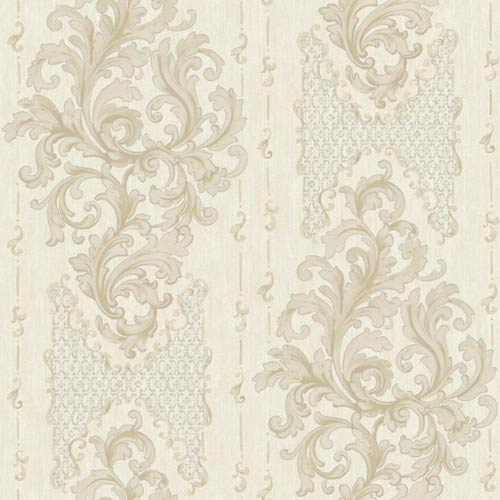 York Wallcoverings Saint Augustine Pearl White, Beige, Ecru and Silver Sheen Embroidered Damask Wallpaper: Sample Swatch Only