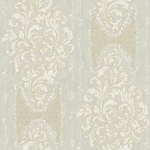 York Wallcoverings Saint Augustine Glistening Pewter, White, Gray and Gold Sheen Embroidered Damask Wallpaper: Sample Swatch