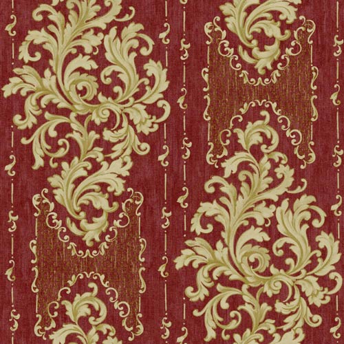 Saint Augustine Scarlet Red, Ecru and Gold Sheen Embroidered Damask Wallpaper: Sample Swatch Only