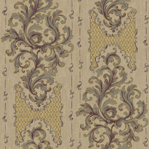 York Wallcoverings Saint Augustine Shiny Beige, Pewter, Eggplant and Gold Sheen Embroidered Damask Wallpaper: Sample Swatch