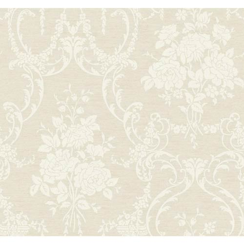 York Wallcoverings Saint Augustine Warm Dove Gray, Graphite Gray and Silver Speckled White Neoclassical Rose Damask
