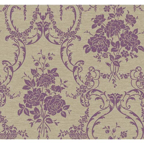 York Wallcoverings Saint Augustine Gray, Cocoa, Beige and Silver Speckled Plum Neoclassical Rose Damask Wallpaper: Sample