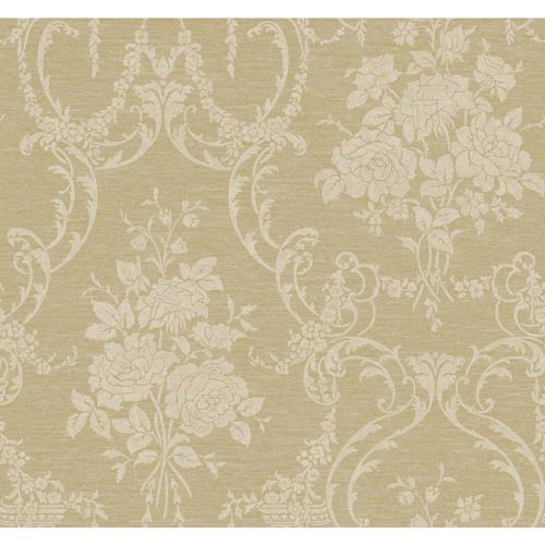 York Wallcoverings Saint Augustine Dove Gray, Wheat, Buff and Silver Speckled Cream Neoclassical Rose Damask Wallpaper: