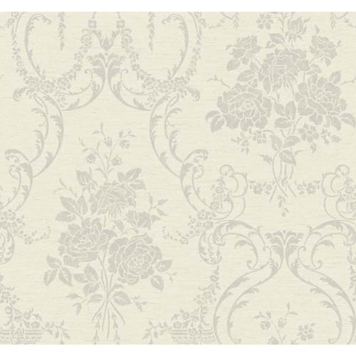 York Wallcoverings Saint Augustine Pearlescent White, Platinum, Beige and Silver Speckled Pearl Neoclassical Rose Damask