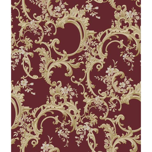 York Wallcoverings Saint Augustine Scarlet Satin, Tan and Pale Peach Floral Trail Wallpaper: Sample Swatch Only