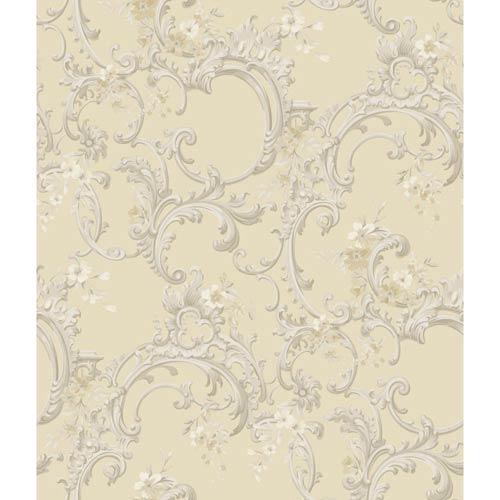 York Wallcoverings Saint Augustine Creamy Satin, Silvery Grays, Bright White, Beige and Taupe Floral Trail Wallpaper: Sample