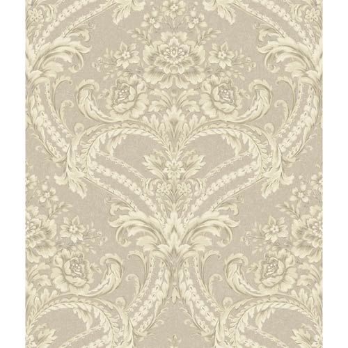 Saint Augustine Pewter, Creamy Beige and Silver Glint Baroque Floral Damask Wallpaper