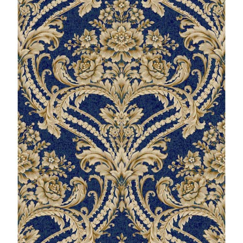 York Wallcoverings Saint Augustine Deep Sea Blue, Buff, Putty Gray and Gold Glint Baroque Floral Damask Wallpaper: Sample