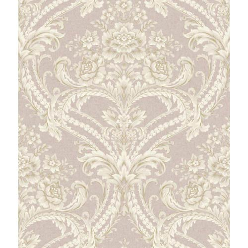 York Wallcoverings Saint Augustine Silvery Lilac, Chalk White, Taupe and Gray Baroque Floral Damask Wallpaper: Sample Swatch