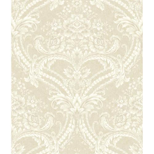 York Wallcoverings Saint Augustine Soft Gold, Blush Cream, Chalk White and Pale Gray Baroque Floral Damask Wallpaper