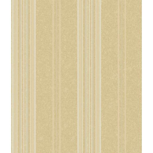 York Wallcoverings Saint Augustine Soft Gold, Manila Tan and Silver Baroque Stripe Wallpaper: Sample Swatch Only
