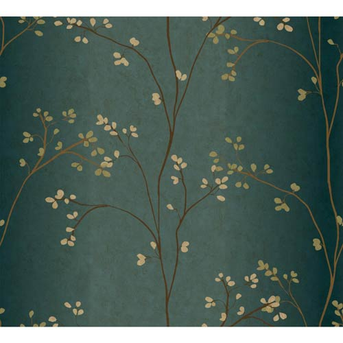 York Wallcoverings Inspired by Color Teal, Bronze Metallic and Powder Green Wallpaper: Sample Swatch Only