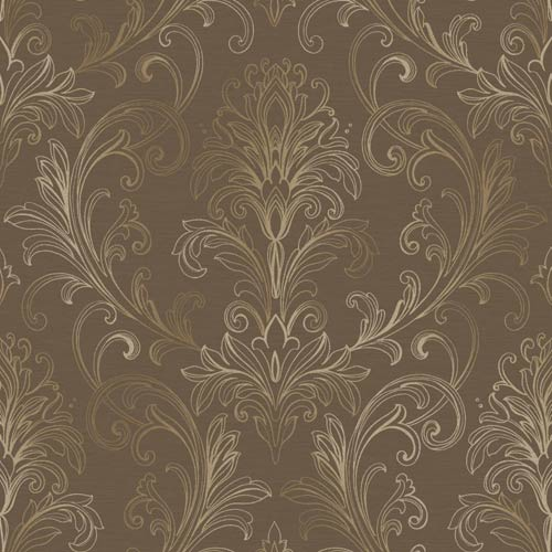 York Wallcoverings Inspired by Color Deep Mocha and Gold Pearl Metallic Wallpaper