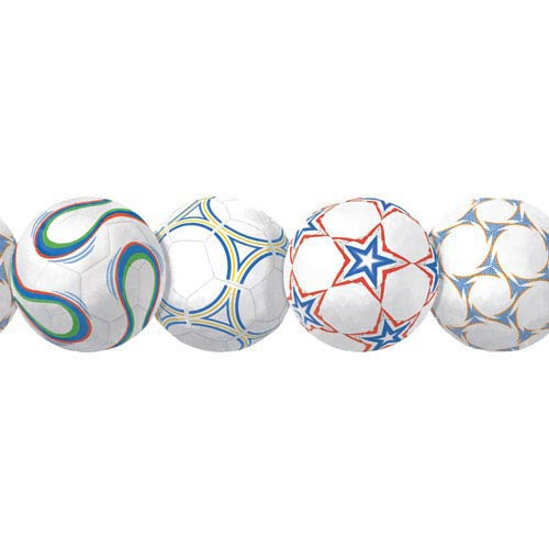 York Wallcoverings Room To Grow White and Blue New Soccerball Border