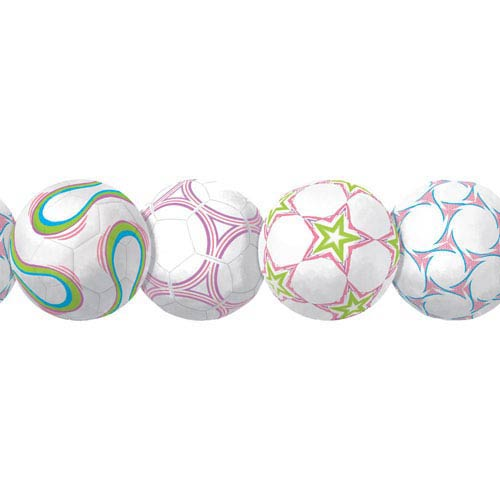 York Wallcoverings Room To Grow Multicolor New Soccerball Border