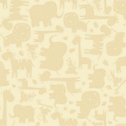 Room To Grow Yellow and Tan Baby Safari Wallpaper