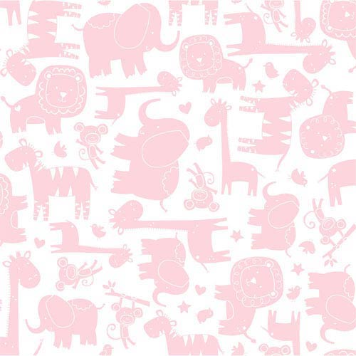 Room To Grow White and Pink Baby Safari Wallpaper