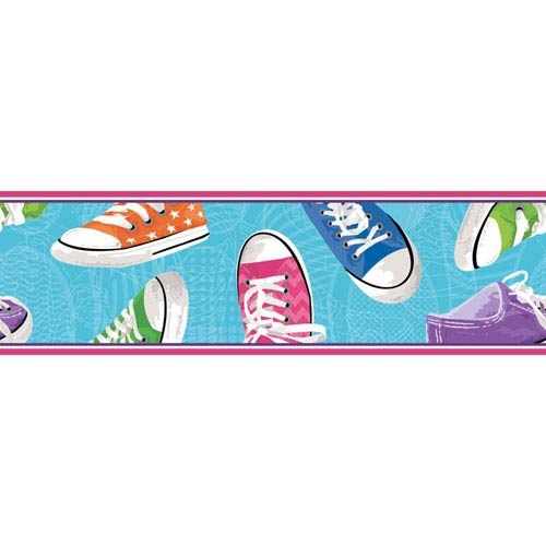York Wallcoverings Room To Grow Aqua Sneakers Border