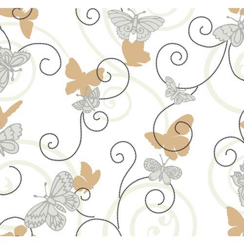 York Wallcoverings Room To Grow White and Grey Butterfly Wallpaper : Sample Swatch Only