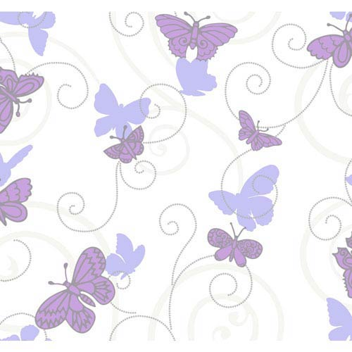 York Wallcoverings Room To Grow White and Purple Butterfly Wallpaper : Sample Swatch Only