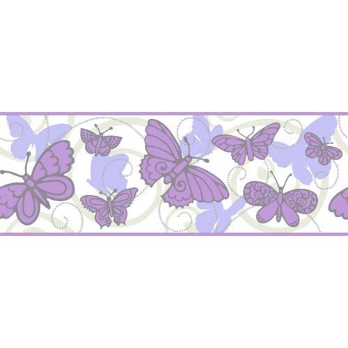 York Wallcoverings Room To Grow Soft Grey and Purple Butterfly Border